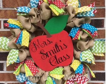 Burlap Teacher Wreath with Apple Sign