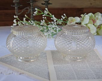 Vintage clear glass globes - Set of two - Light globes - Light covers - Ceiling light globes - Vintage Fixtures