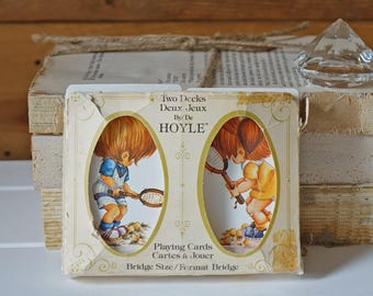 Vintage double deck bridge deck set - Playing cards - Two decks by Hoyle - Tennis players