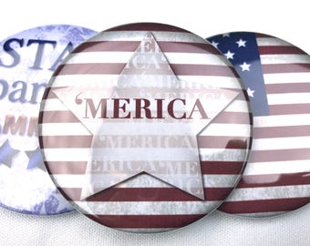 4th of July Pins, Star Spangled Hammered, 'Merica, American Flag
