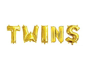 Twins Gold Foil Letter Balloons, Gold Letter Balloon Garland, Twins Baby Shower, Sip n See, Baby Birth, Christening, Baptism, Kids Occasion