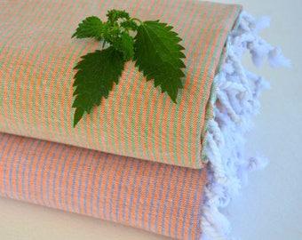 Thin and Thinner Stripped 2TURKISH TOWEL set - PESHTEMAL - Beach Towel Thin and Light  Fouta  Guest Towel Gift Idea Orange - Green - Blue