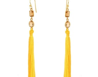 ON SALE Long Tassel Earrings - Bright Yellow Color - Citrin Gemstone - 925 Sterling Silver with 24k Micro Gold Plated