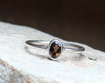 On Sale Natural Smoky Quartz Ring - 925 Sterling Silver Ring Handmade - Anniversary Ring