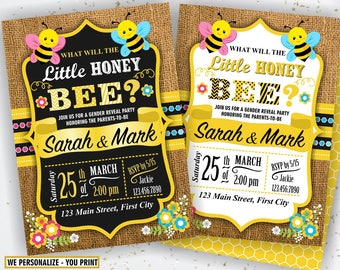 Bumble Bee Invite, Bee Gender Reveal Invitation, What Will It Bee, Gender Reveal Party, Little Honey Gender Reveal Shower, Girl Boy Bee3