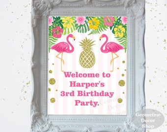 Pineapple Flamingo pool Party Welcome Sign Pink Gold Teal Gold birthday party table gift sign flowers WSFL1