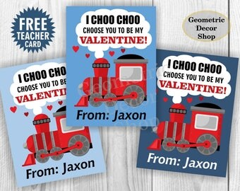 Train / choo / chugga / red / blue / Valentine / Card / Valentines / Valentine's / Day / Personalized / Tags / teacher / Kids /VCard11