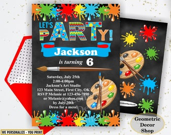 Painting Party Invitation, Art Party Invitation, Art Birthday Party Invitation, Art Themed Party, Paint Party Invites, Painting Party Paint9