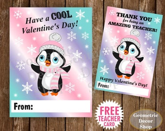 Instant Download / Penguin / Valentine Card / Valentines Card / Pink / Purple / Teal / Valentine's Day / Tags / teacher / Kids /VCard1_ID