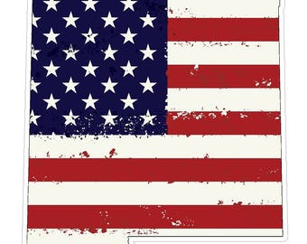 New Mexico State (J32) USA Flag Distressed Vinyl Decal Sticker Car/Truck Laptop/Netbook Window