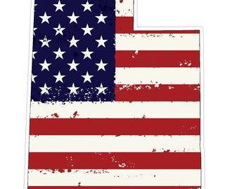 Utah State (J44) USA Flag Distressed Vinyl Decal Sticker Car/Truck Laptop/Netbook Window