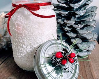Christmas Candle, Holiday Candle, Winter Candle, Wood Wick Candle, Soy Candle, Snow Mason Jar, Christmas Mantle Decor, Christmas Gift