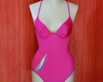Vintage 80 's Fuchsia bathing suit-' 80s vintage one piece swimsuit