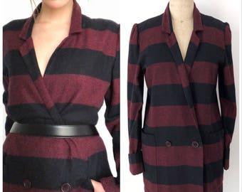 FREE SHIPPING- 80s Striped Maroon & Black Jacket