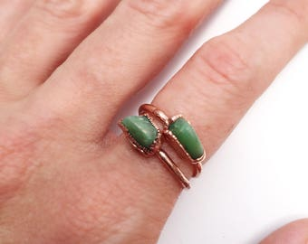 Chrysoprase Ring, Chrysoprase Copper Ring, Green Stone Ring, Gemstone Stacking Ring, Chrysoprase Stacking Ring, Bright Copper Ring