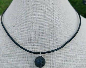 Lava Diffuser Necklace - Simple  Lava Stone Diffuser - Essential Oil Diffuser Necklace - Lava Bead necklace - Leather Necklace