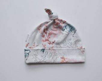 Organic Baby Beanie / Baby Hat / Newborn Beanie / Topknot Beanie - Blue Birds - FREE SHIPPING* by Little Dreamer