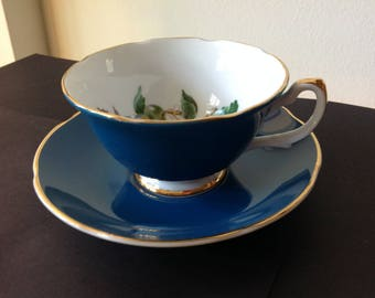 Royal Grafton Blue Teacup with Plums, Grapes Bone China