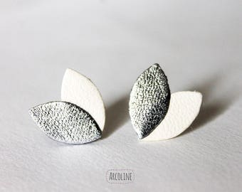 Earrings ° petals leather white ° ° silver