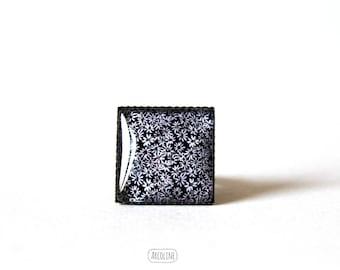 Ring square 20 mm° Retro Cabochon (Liberty) (black)