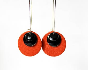 Orange Sequin black leather earrings