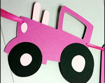 Pink Tractor themed Banner,  First Birthday Tractor Banner