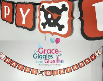 Pirate Themed Happy Birthday Banner