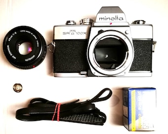 Minolta SR-T 100x with New Light Seals and Pancake Lens. Ready-To-Use Vintage 1970s SLR Camera with f2 45 mm Lens