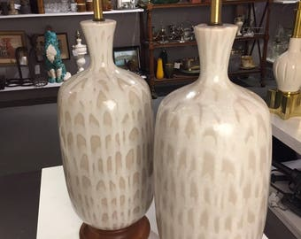Pair of rare large mid century ceramic table lamps
