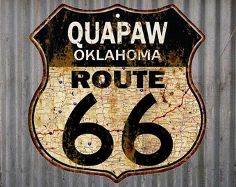 Quapaw, Oklahoma Route 66 Vintage Look Rustic 12X12 Metal Shield Sign S122205