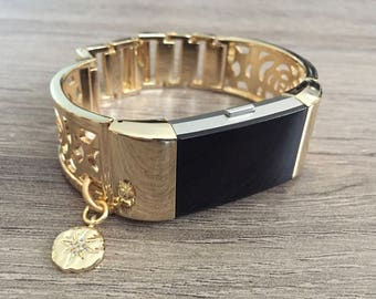 Gold Metal Band for Fitbit Charge 2 Activity Tracker Bangle Rhodium Plated Cubic Zirconia Stardust Charm Adjustable Fitbit Charge 2 Bracelet