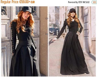 Maxi Skirt / High Waisted Skirt / Womens Skirts / Long Skirt / Skirt With Pockets / Black Skirt / Cotton Skirt
