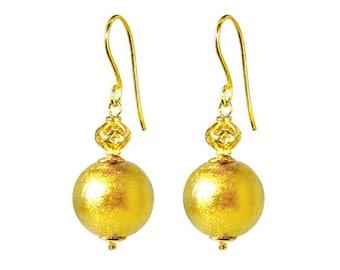 Murano Glass Earrings by Mystery of Venice  'Zanetta Gold', Murano Earrings, Murano Glass Jewelry, Gold Glass Earrings, Murano Glass