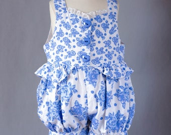 Vintage 1990's Toddler Romper / Size 2T / Blue and White Floral Romper / 1990's White and Blue Floral Jumper / 1990's Toddler Romper