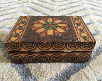 Vintage handmade wood burned box.