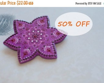 Summer outdoors, Purple brooch, Purple flower brooch, Star brooch, Star pin, Purple accessory, Hand-painted brooch, Big purple brooch
