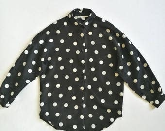 Vintage 1990s THE LIMITED silk polka dot shirt