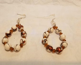 Handmade Tiger Eye Seeded Bead  Earrings