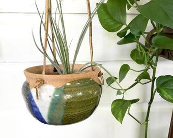 Terra-cotta Hanging Planter  • 70s Glazed Pottery Planter • Boho  Decor