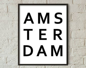 Amsterdam Print, Amsterdam Wall Art, Netherlands Print, Amsterdam Minimalist Scandinavian, Amsterdam Printable, Amsterdam Poster (W0511)