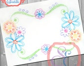 SCRIBBLE FLOWER FRAME Embroidery Design For Machine Embroidery
