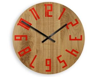 large wall clock wood wall clock oak 16inch modern geometric wall