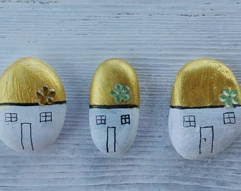 3 painted beach stones,  Pebbles, homes stone, pebbles homes, Stones from the sea, stone houses, sea decor, home decor, unique gift, Colored