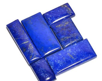 65% OFF SALE 6 Pieces Lapis Lazuli Cabochons Lot Rectangle Shape, Natural Lapis Lazuli Gemstone Cabochon Loose Gemstones Cabs Smooth Stones
