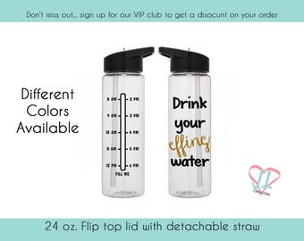 Water Bottle with Times - 24 oz. - Water Bottle - Drink your effing water