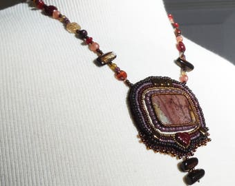 "Jasper Rustic Bead Embroidered Pendant Necklace ""Flaming Forest"""
