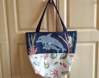 Handmade Summer beach bag dolphin Tote Bag shopper