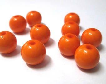 10 orange 10mm acrylic beads