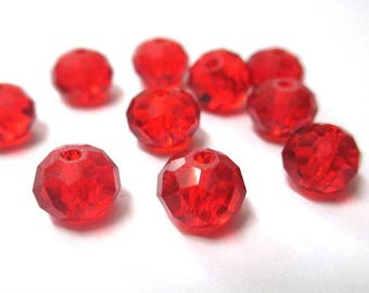 10 Red faceted rondelle glass 6x8mm beads