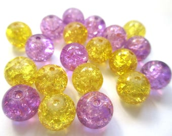 set of 20 beads purple and yellow Crackle Glass 10mm (E-34)